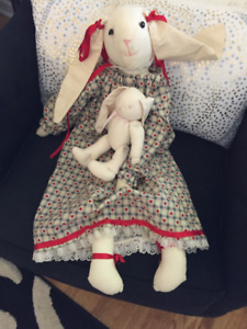Hand made Flop eared mother rabbit and babe. 20.00