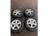 "VW 14"" alloy wheels with tyres"