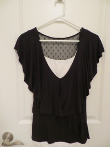 For Sale: Layered Black top with White Camisole