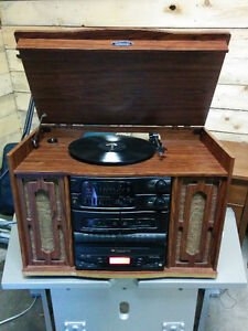 Antique Style Nostalgic Stereo, Record & Tape Player, CD