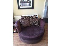 Half moon sofa and swivel bucket chair