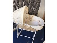 Moses basket and stand with extras
