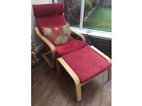 Ikea Poang 2 x Armchairs & 1 x Footstool