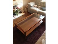 Large Glass and Wood Rectangular Coffee Table