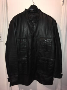 New men's leather coat for winter or fall size medium