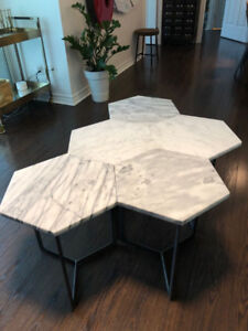 WEST ELM HEX SIDE TABLE x4
