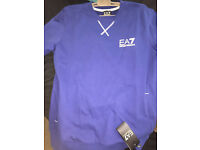 New Mens Blue Size Large EA7 Emporio Armani Sweatshirt with Pockets