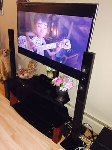 Samsung tv and speakers,tv table,bluray for $1300