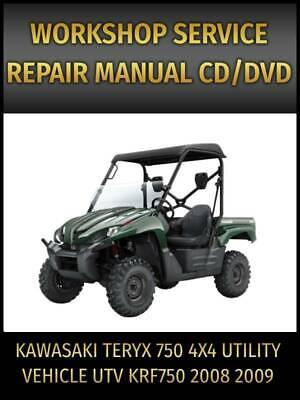 Kawasaki Teryx 750 4x4 Utv Krf750 Service Repair Manual 2008 2009 On Cd