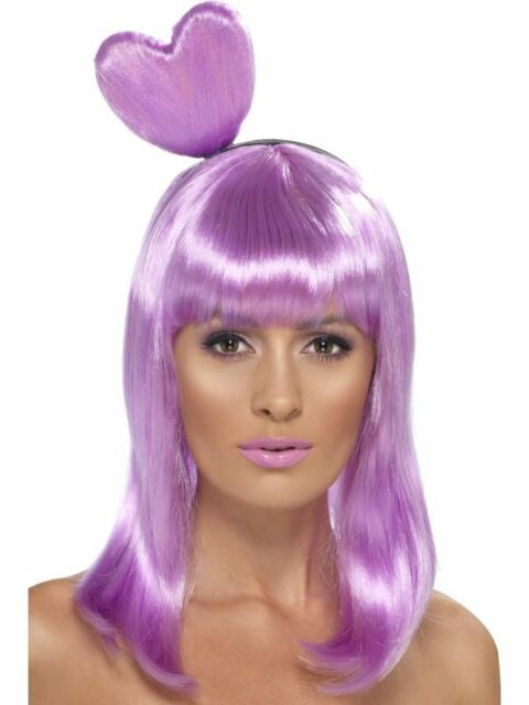 LADIES PURPLE CANDY QUEEN WIG LILAC HEART KATY PERRY POPSTAR SINGER DRESS HAIR