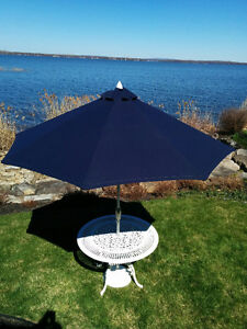 Beautiful Beka Casting Garden Table with Base and Parasol