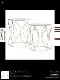 Stunning Hexagon Mirrored Side Tables. RRP £220