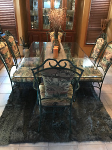 7 piece glass table dining table and chair set