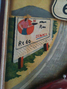 """Route 66 3D Carved Wood Painting 15"""" x 21"""" for a exc Kitchener / Waterloo Kitchener Area image 3"""