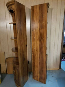 Pair of Solid Oak Corner Curio Cabinets