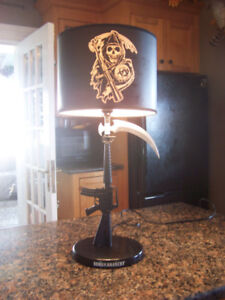 Bikers Sons of Anarchy Gun Sickle Reaper Table Lamp