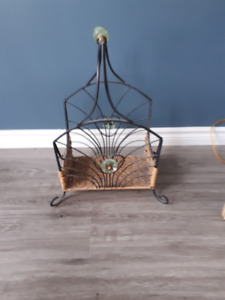 Ornate Wicker Magazine Rack with Metal Hhandles