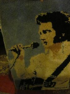 TACKY ELVIS COLLECTABLE, MADE WOOL WALL HANGING asking $45 or be