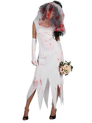 Adult Zombie Bride Costume Ladies Wedding Halloween Fancy Dress Outfit UK 6-20 - Zombie Halloween Costume Uk