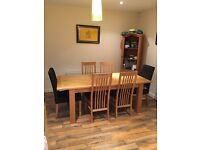 Six seater dining table and chairs. Also the book case is available for the right price....