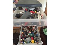Various Lego Pieces in 2 Sets of Drawers