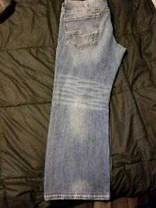 Mens Silver Jeans Size 40x30
