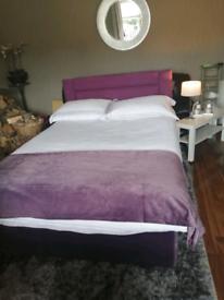 Velvet double divan base, mattress & headboard £55
