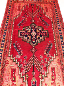 Semi-Antique Persian Rug,Wool,Handmade,6.5 x 3.7 ft,Red