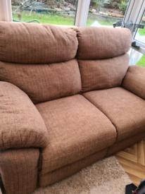 Brown fabric 3 & 2 seater sofa