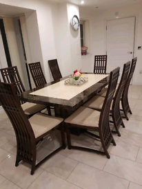 Almost New Stunning Modern Marble Dining Table and 8 Chairs RRP £4000