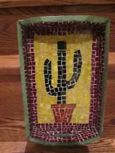 Cactus Mosaic Wood Handled Tray