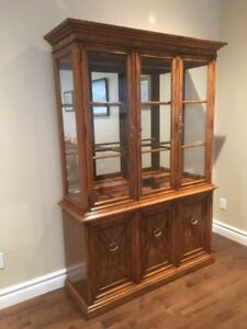 Sklar Peppler Solid Oak & Walnut China Cabinet