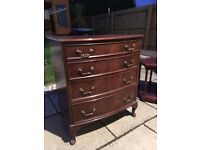 Antique hardwood chest of drawers