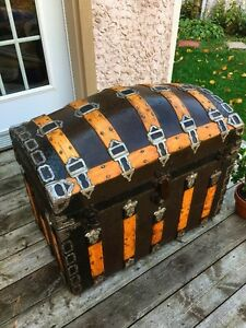 Beautiful 1880's Romadka Brothers Antique trunk coffre malle