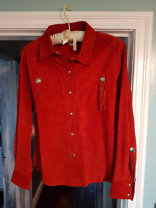 Harley Davidson Woman's Red Suede Shirt