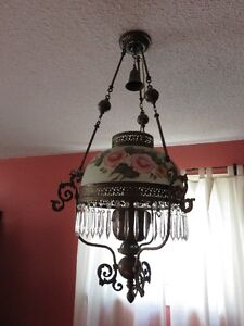 Antique Victorian Hanging English Library Light Hand Painted Kitchener / Waterloo Kitchener Area image 1