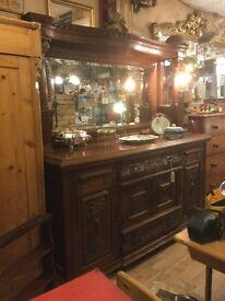 Antique Oak Mirror Back Sideboard