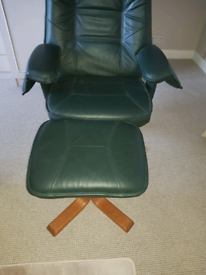 Swivel Green Leather Chair For Sale