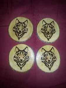 Set Of 4 Wolf Coasters