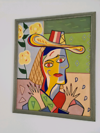 Framed Oil Painting Picasso Style Cubist