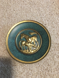 Brass Metal Horse Plate - Antique