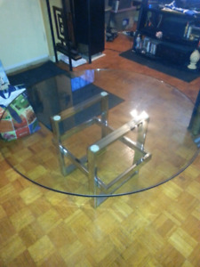 Crome steel stand and glass top table