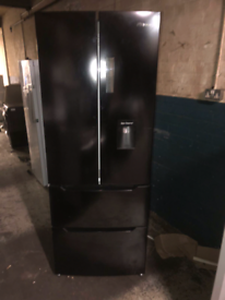 BLACK HISENSE QUATTRO STYLE FRIDGE FREEZER WITH WATER DISPENSER