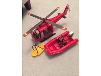 BRAND NEW PLAYMOBIL HELICOPTER AND BOAT RESCUE SET!!!