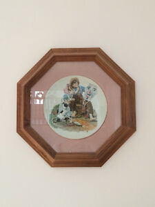 4  Norman Rockwell plates with frames