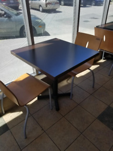 wooden tables with metal base