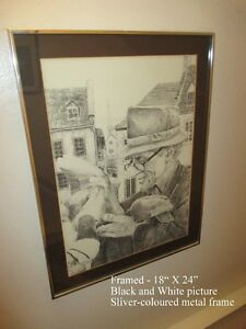 Print-B&W Tender & Peaceful image Framed - Old Man Holding Bird