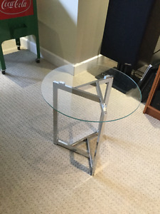 Glass and Crome End Table