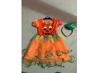 Female children's Halloween pumpkin outfit -with led's