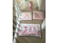 Girls bedroom set, lamp and wall art from next